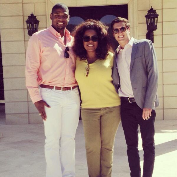 Update: Added a photo of Michael Sam with Oprah Winfrey at their lunch, which was tweeted by Sam's boyfriend Vito Cammisano.