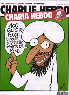 """The cover of French magazine Charlie Hebdo published November 3, 2011. The cover translates to: """"100 lashes if you don't die laughing."""""""